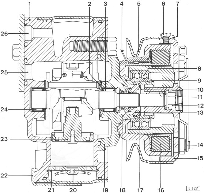 Schnittbild 4-Zylinder-Kompressor