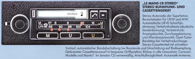Opel Autoradio Le Mans CR Stereo