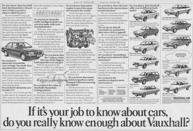 Vauxhaul Anzeige mit Vorstellung des Viceroy 1. November 1980