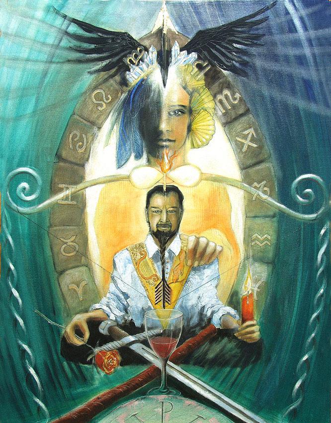Der Magier Sakis-Tarot, Leinwandbild, Kunstdruck, Poster