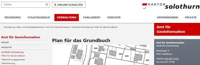Plan Grundbuch Kanton Solothurn