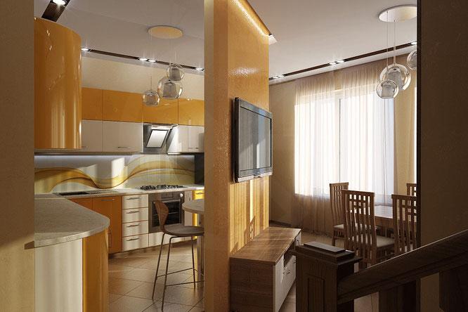 """дизайн интерьера зала-кухни  """" дизайн интерьера """"  в современном стиле"""