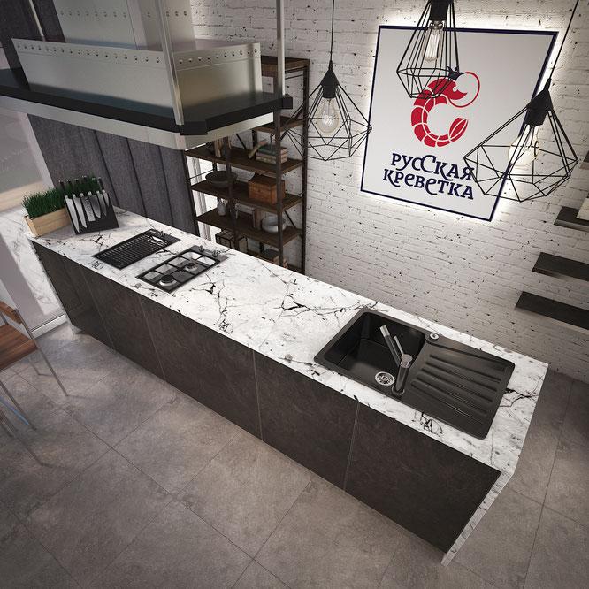современная кухня остров студия лофт дизайн кухни