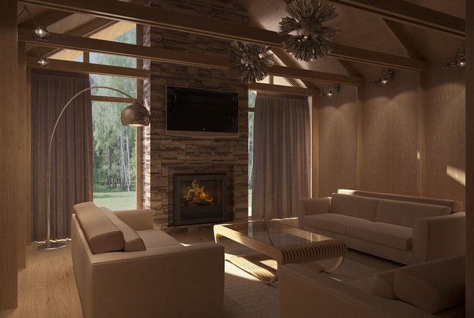 """дизайн гостиной с камином в загородном доме  """" дизайн интерьера """""""