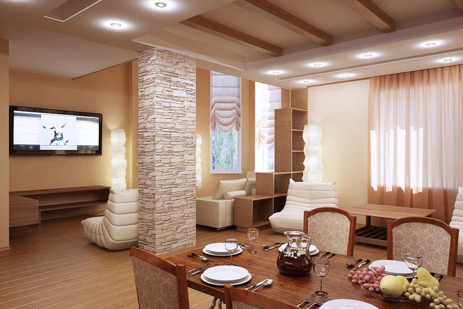 """дизайн гостиная кухня в загородном доме  """" дизайн интерьера """""""