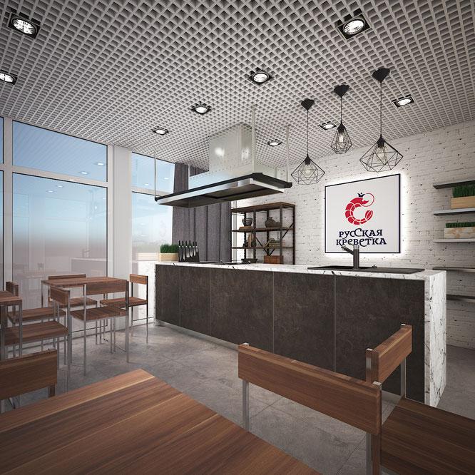 дизайн кухни студии лофт современная кухня остров