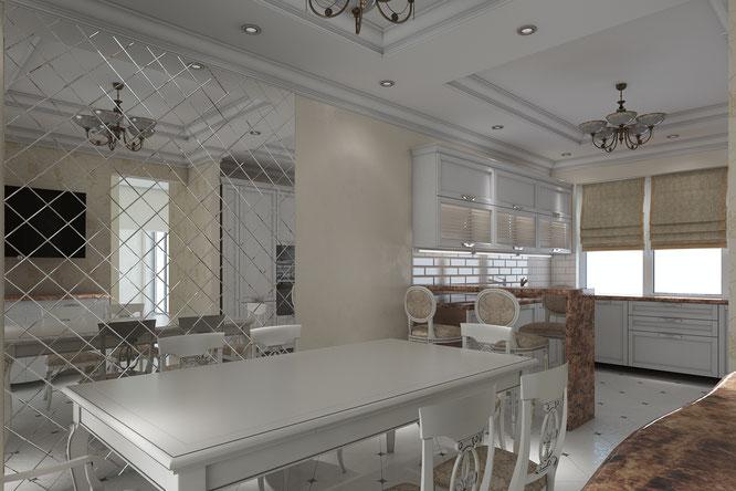 столовая кухня современный интерьер
