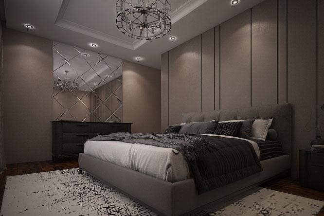 современный интерьер спальни рублевские пинаты