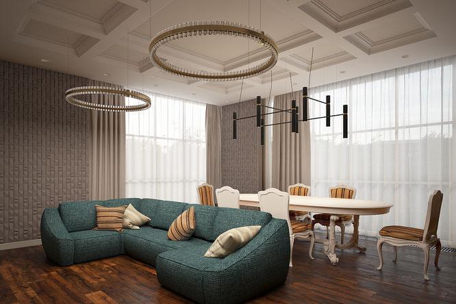 столовая гостинная интерьер рублевка