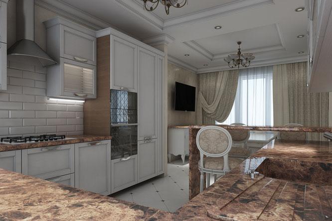 кухня гостиная современная классика крем хаус таун хаус