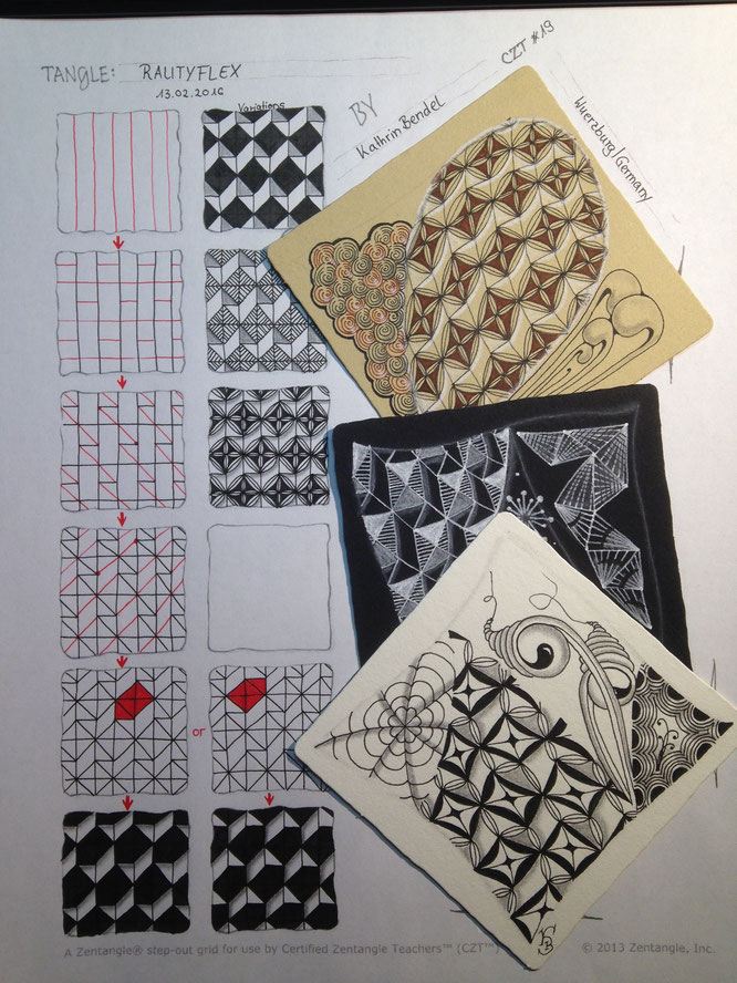 Zentangle Rautyflex, Zentangle Muster, grid, high focused tangle, Zentangle pattern, Zentangle Muster, Step out Rautyflex