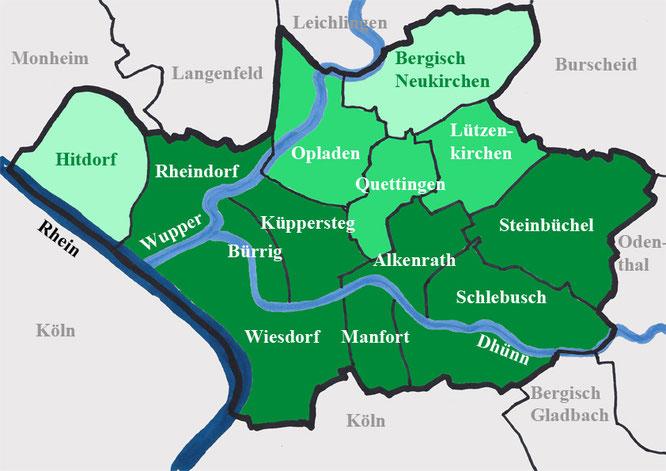 Leverkusen mit den Stadtgrenzen seit der Gebietsreform