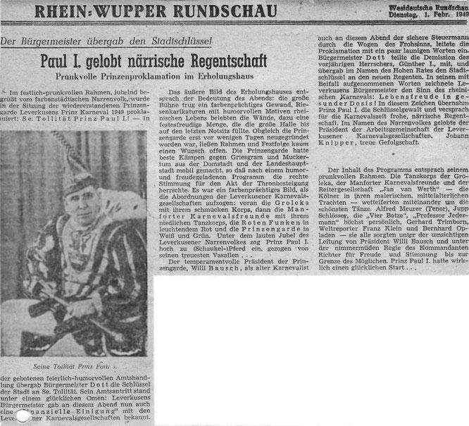 Rhein Wupper Rundschau vom 01. Februar 1949