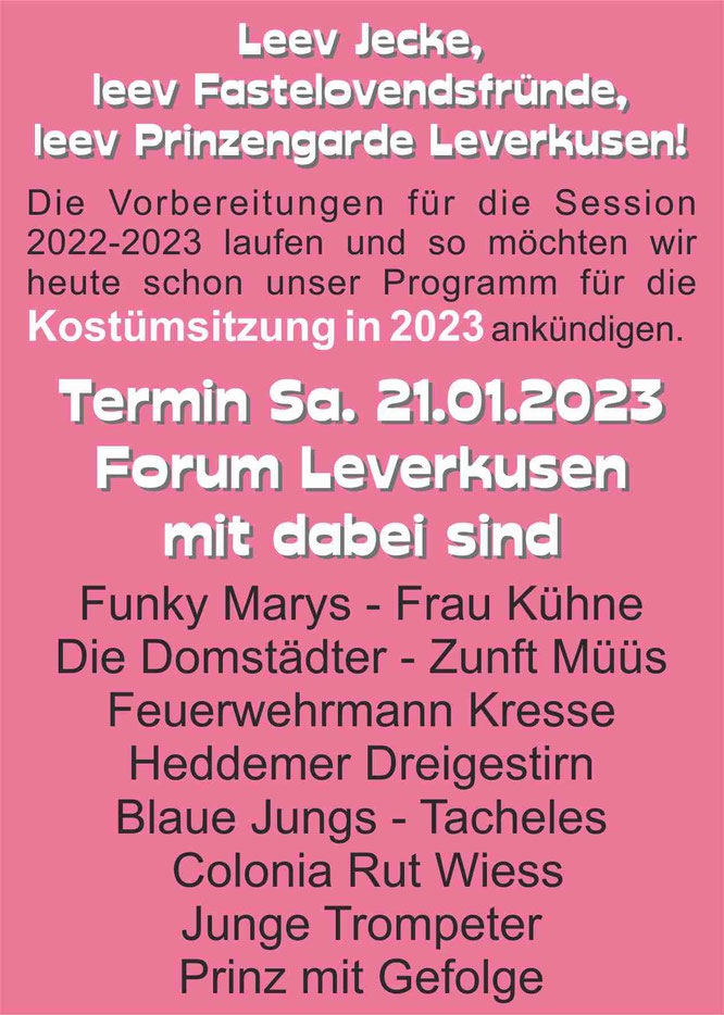 Karneval feiern in Leverkusen - Kostümsitzung der Prinzengarde Leverkusen