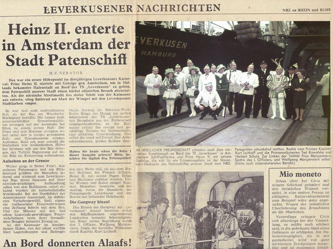 Prinzengarde besucht 1964 das Patenschiff Leverkusen in Amsterdam