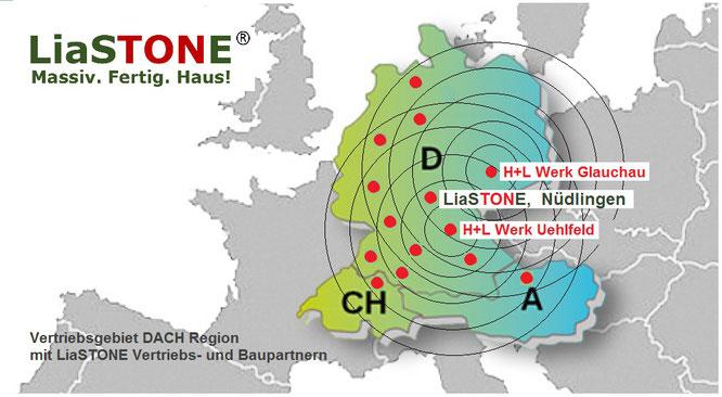 Gebietskarte LiaSTONE DACH Region 2017