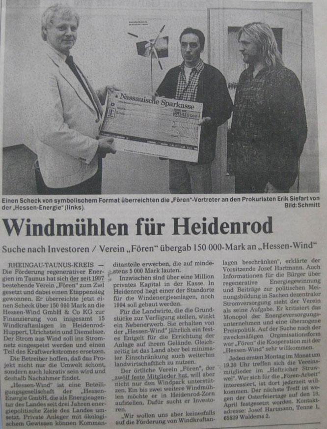 FÖREN unterstützt Hessen-Wind bei Windkraft für Heidenrod