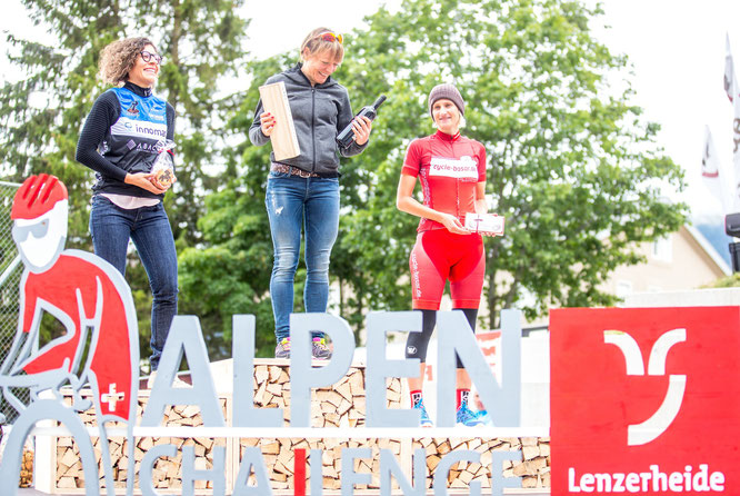 Award ceremony of the Alpen Challenge with Laila Orennos (left), two times winner of Ötztaler Radmarathon, coming in 2nd. Photo: Henning Angerer