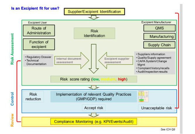 Excipient risk assessment process - *P. Rafidison, F. Holtz, S. Rönninger, A Practical Approach of Implementing GMP for Excipients, Pharm.Tech., September, 2014, 26-36