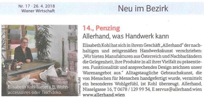 Artikel in Wiener Wirtschaft