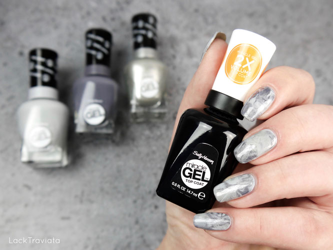 Sally Hansen • miracle GEL • Slate-r Girl • Buffalo Nickel • Greyfitti marble nailart