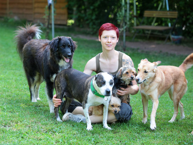 Simone mit den Vierbeinern