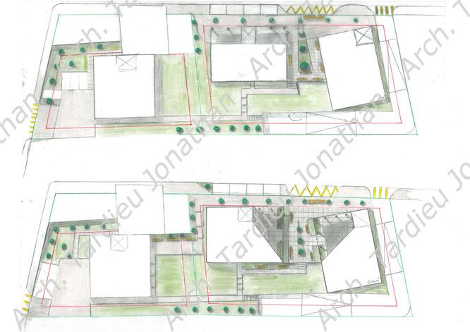 Studio delle volumetrie principali e della piazza che si viene a creare