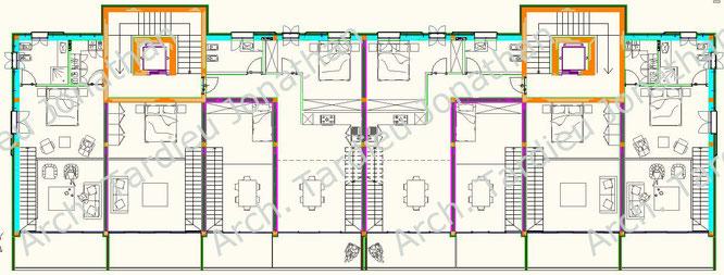 Planimetria piano 2 appartamenti duplex - Struttura laterocemento (Scala 1:100)