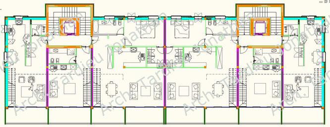 Planimetria piano 1 appartamenti duplex - Struttura laterocemento (Scala 1:100)