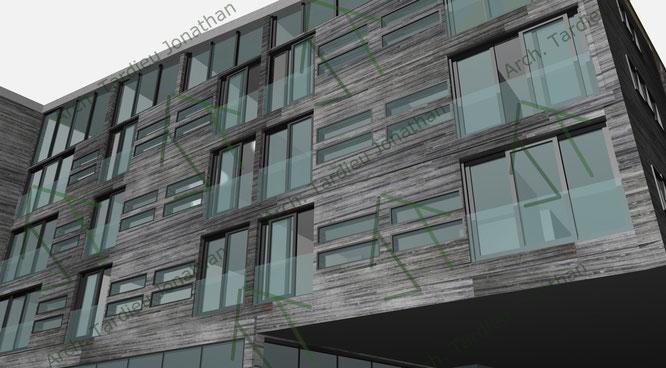 Studio facciate 1 Sport pavillon (facciata verso valle)