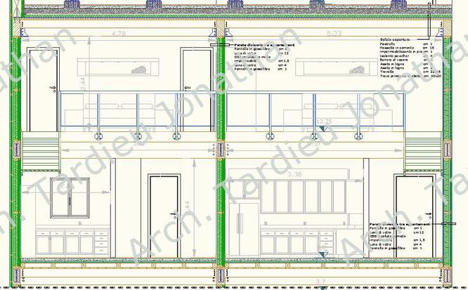 Sezione appartamento duplex - Struttura portante in legno (Scala 1:50)