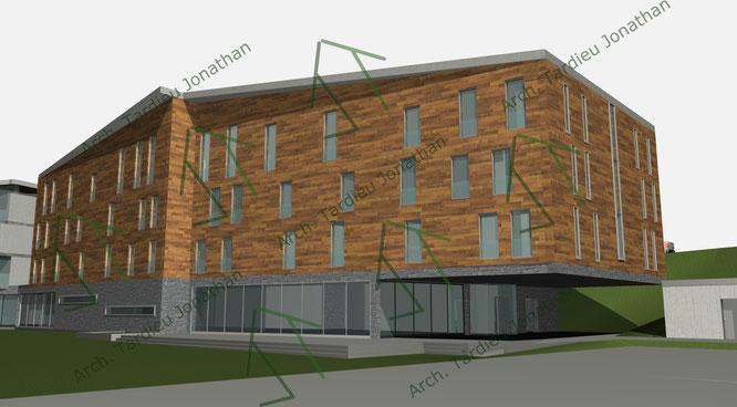 Studio facciate 4 Sport pavillon (facciata verso valle)