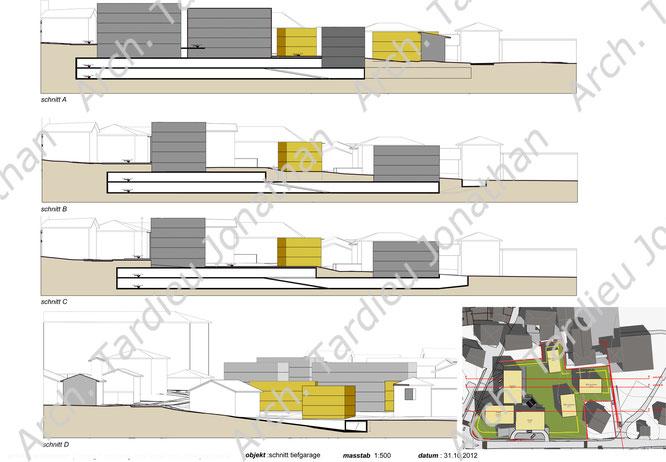 Planivolumetrico sezioni edifici e garage interrato