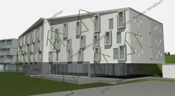 Studio facciate 3 Sport pavillon (facciata verso valle)