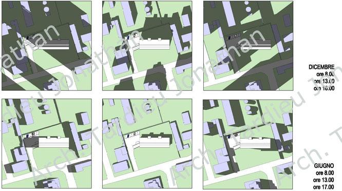 Studio delle ombre proiettate dal contesto e dall'edificio stesso