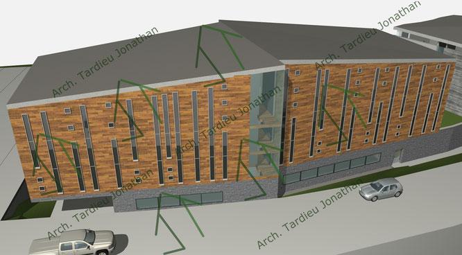 Studio facciate DEFINITIVE Sport pavillon (facciata verso abitazioni e strada)