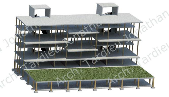 Vista 3d struttura portante in laterocemento