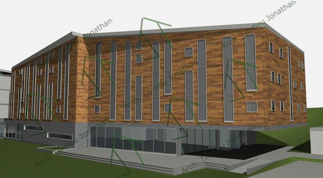 Studio facciate DEFINITIVE Sport pavillon (facciata verso valle)