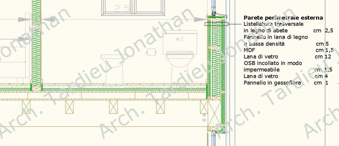 Dettaglio appartamento duplex - Struttura portante in legno (Scala 1:20)