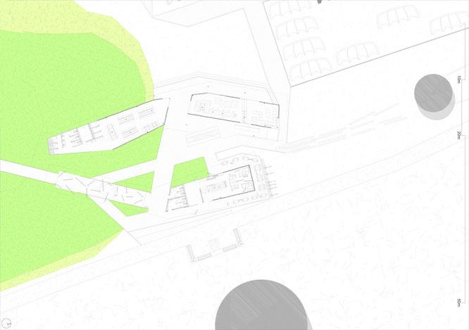 Planimetria 1:100 edificio principale alla fine del TRATTO 1