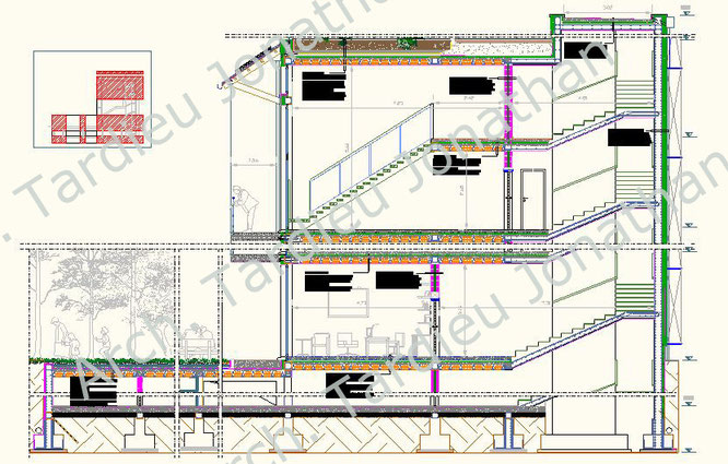 Sezione trasversale edificio - Struttura laterocemento (Scala 1:100)