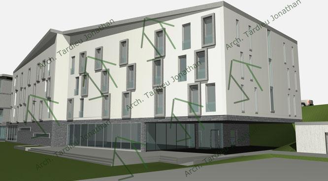 Studio facciate 2 Sport pavillon (facciata verso valle)