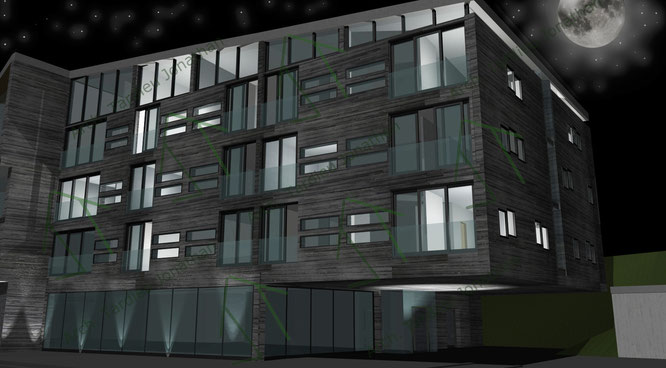 Studio facciate 1 Sport pavillon (facciata verso valle) - vista notturna