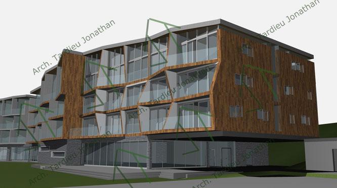 Studio facciate 5 Sport pavillon (facciata verso valle)