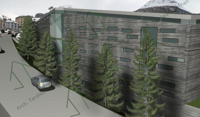 Studio facciate 1 Sport pavillon (facciata verso abitazioni e strada)