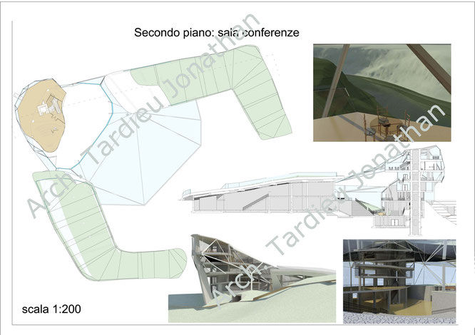 Viste e sezione edificio multifunzionale