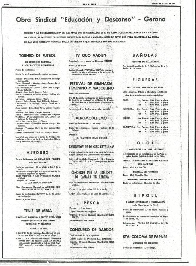 En el año 1976, podemos observar las actividades deportivas y entre ellas el 1º Campeonato de Dardos