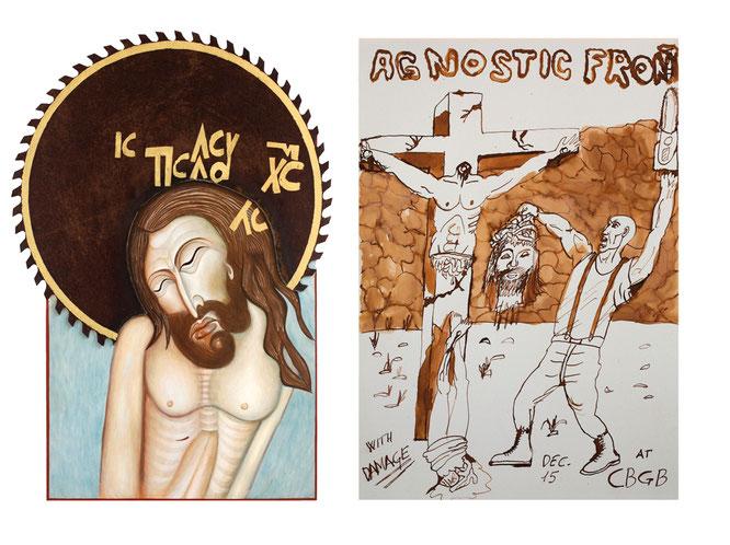 """Angelo Bottali, """"Cristo Re di Gloria"""", 76 × 53 cm, pigmenti naturali, uovo, oro e ferro su legno, 2017 / Giga, """"Senza titolo"""", 50 × 35 cm, chine su cartoncino, 2016"""