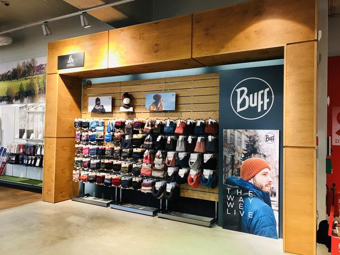 Mit exklusivem Markenauftritt setzt BUFF® seine Produkte in Szene.