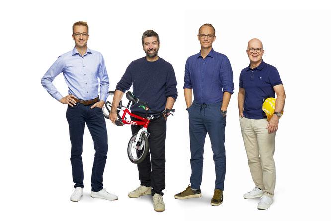 Die neue woom Führungsriege bei woom: v.l.n.r. Mathias Ihlenfeld, Christian Bezdeka, Marcus Ihlenfeld, Guido Dohm